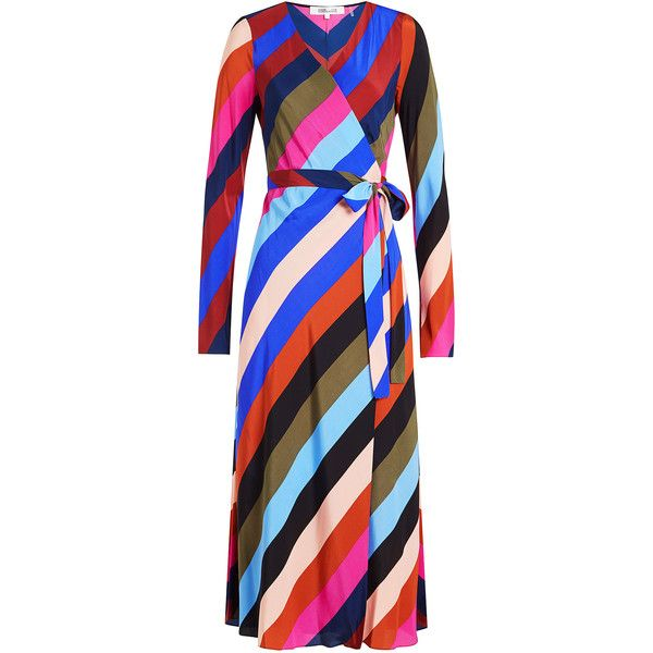 Diane von Furstenberg Striped Silk Wrap Dress ($425) ❤ liked on Polyvore featuring dresses, multicolored, multicolor dresses, wrap dress, multi coloured dress, striped silk dress and colorful dresses