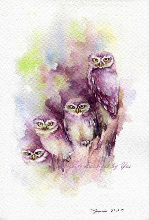 """PRINT – Sweetie Owl Watercolor painting 7.5 x 11"""" The artwork print reproduction of my Original Watercolor painting.  Printed area: 7.5 x 11"""