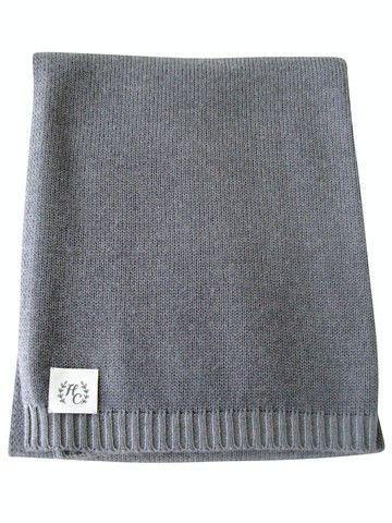 Plain Knit Baby Blanket - Grey