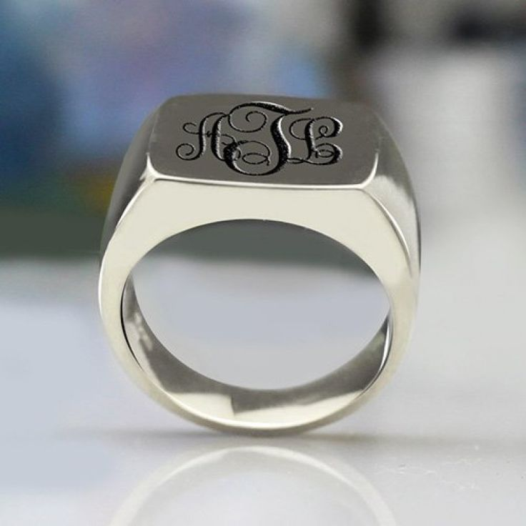 #GiftForBoyfriend #Ideasinrings - #SignetRing Sterling Silver with Monogram - Our classic Signet Ring in Silver with Engraved #Monogram is beautiful and can adorn any finger on your hand. It is a special design that will never go out of style. It is the p