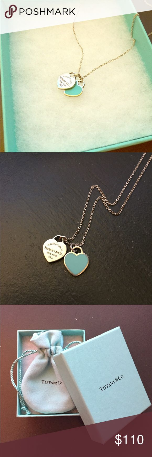 "Tiffany's mini double heart necklace ""Return to Tiffany's"" double heart necklace on an 18"" chain. Sterling silver with Tiffany Blue enamel finish. Beautiful condition and a timeless piece. Tiffany & Co. Jewelry Necklaces"