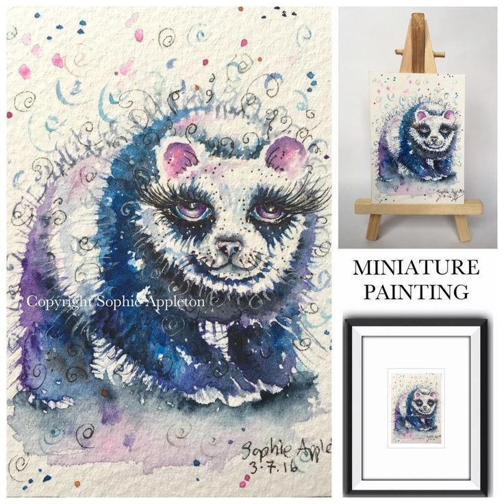 Original Watercolour Painting ACEO miniature PANDA SWIRLS by Sophie Appleton #ACEOartcards