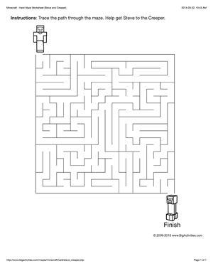 Minecraft maze worksheet with Steve and a creeper. 4 levels of difficulty. Maze changes each time you visit