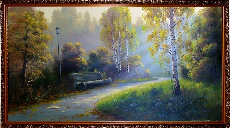 Подарки и сувениры: Осень в парке - Осенний пейзаж <- Картины маслом <...