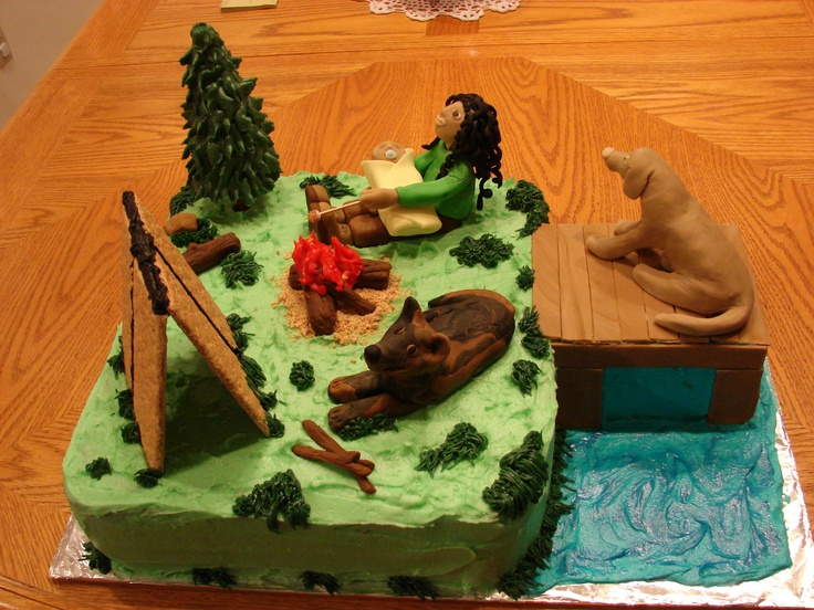 Cake Decorating Ideas Outdoors : Camping with Dogs and Baby - A baby shower cake for a co ...