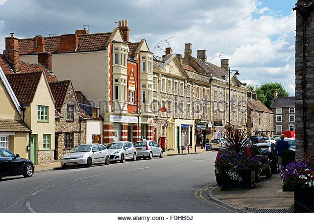 The broad main street of Chipping Sodbury, a market town in  Gloucestershire, England UK - Stock Image