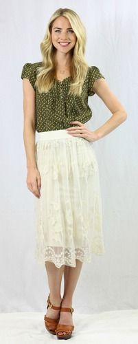 Cream Lace Skirt -Beautiful cream colored lace skirt. Perfect modest fashion for spring and summer! @Deborah & Co.