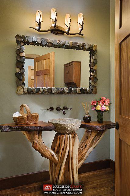 Log Home Bathroom | Milled Log Home | PrecisionCraft Log Homes by PrecisionCraft Log Homes & Timber Frame, via Flickr