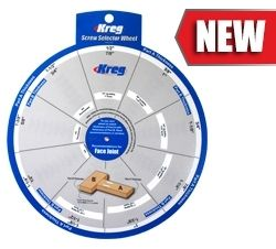 The Screw Selector Wheel makes it easier than ever to build projects with Kreg Joinery. Just dial in the thickness of each piece to be joined—whether those thicknesses are the same or different—and the Wheel shows you the correct screw length and Kreg Jig setting.