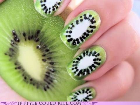 kiwi nails. so cool!Nails Art, Nailart, Nails Design, Summer Nails, Nails Ideas, Nails Polish, Fruit Nails, Naildesigns, Kiwi Nails