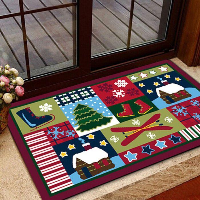 61*100CM Festive Christmas nylon material carpet waterproof door mats