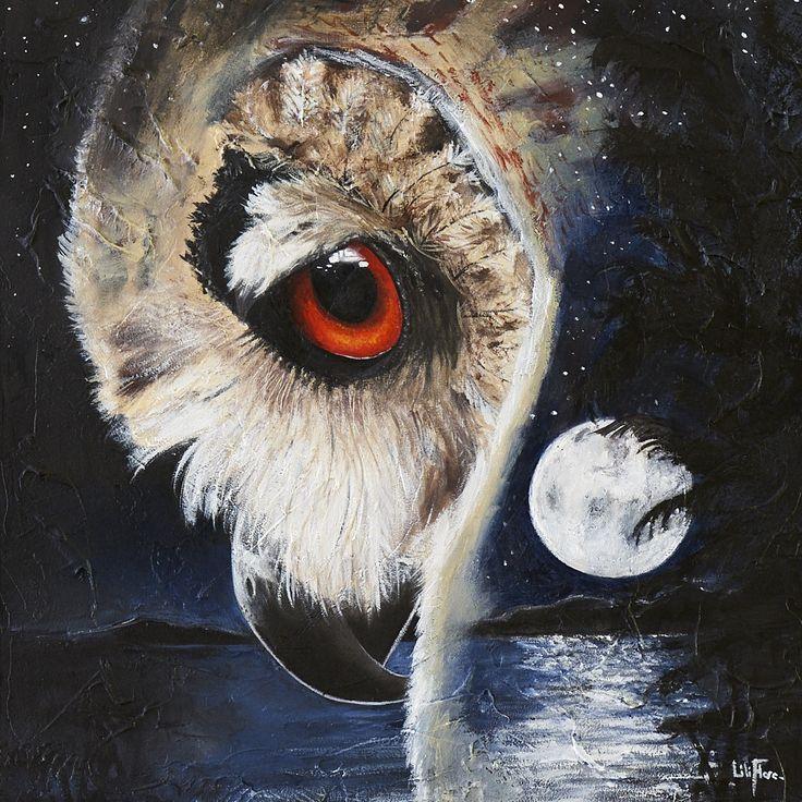 """Le Guetteur - 10x10"""" - vendu - acrylique sur bois Peinture d'un hibou Grand-Duc de profil. Nuit et pleine lune en surimpression..."""