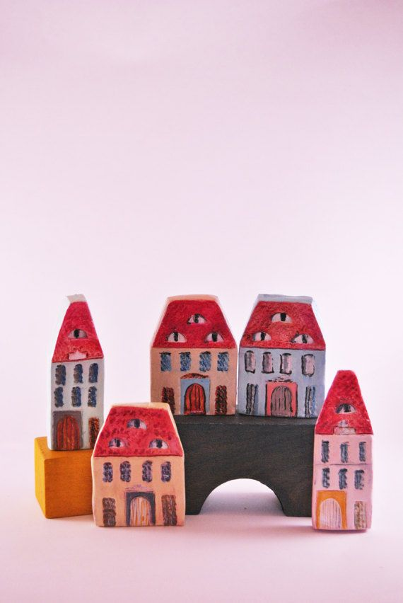 Collectible House miniature, urban Transilvanyan house, House with eyes, Sibiu house, Traditional Romanian house, House gift, New home gift