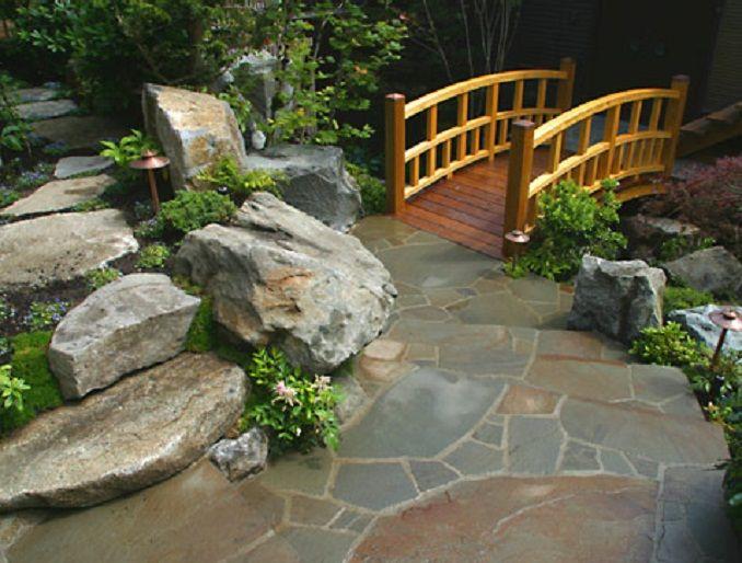 Lawn U0026 Garden : Stone Steps In Small Japanese Garden Design With Wooden  Bridge Regarding For Wonderful Japanese Garden Idea Small Japanese Garden  To Bring ... Part 72