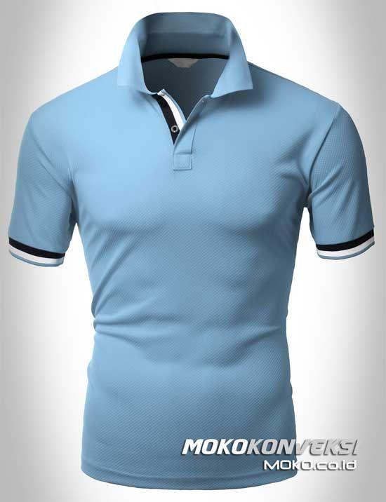 Polo Shirt Dual Stripes Accent | MOKO.CO.ID Kaos Berkerah Pria Wanita Warna Biru.