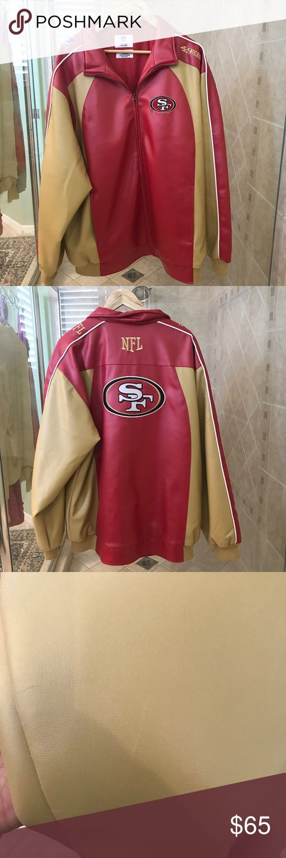 Vintage Faux Leather 49ers Jacket Sz XL This heavy vintage jacket will keep you warm. No rips just a few light scratches and a minor stain. All flaws are shown in pictures . Its a great jacket with alot of life left NFL Apparel Jackets & Coats
