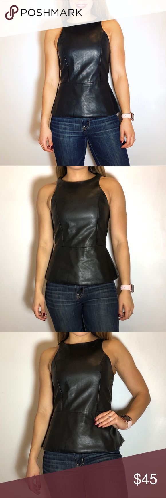 Express Faux Leather Peplum Top Express Faux Leather Peplum Top. -Size S. -Back zip. -Faux Leather. -Excellent condition!  NO Trades. Please make all offers through offer button. Express Tops