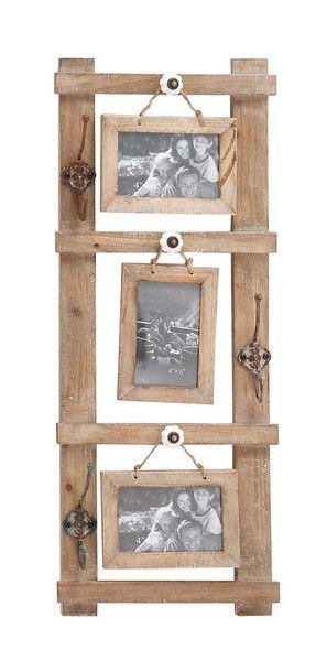 Rustic Western Wood Picture Frame 3 Hanging 4x6 Photos Vintage Look Metal Hooks Rustic Western Wood Picture Frame 3 Hanging 4x6 Photos Vintage Look Metal Hooks