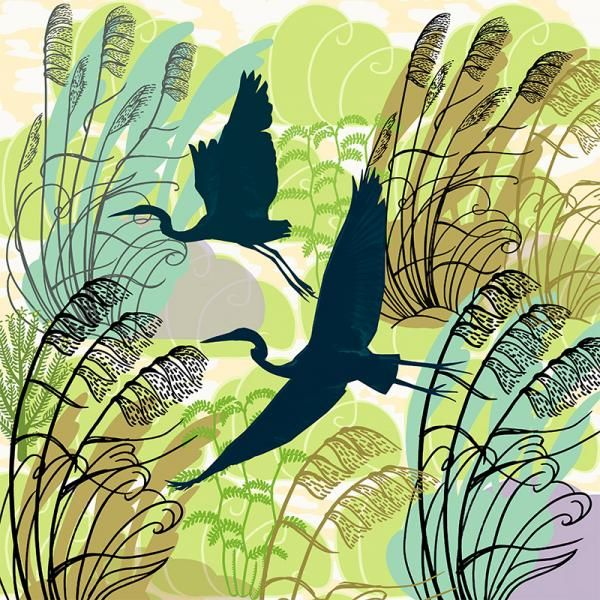Heron Flight. Limited edition of 50.  Lightfast print on 300gsm fine art paper by Jane Galloway http://www.palmprints.co.nz/heron-flight-c-594.html