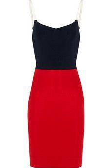 Victoria Beckham Leather-trimmed stretch-ponte mini dress | NET-A-PORTER