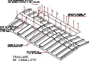 Planos de Traslape de caballete, en Cubiertas - estructuras