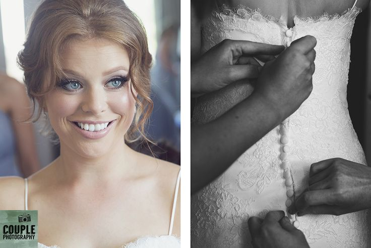 The bridesmaids help the bride into her full lace wedding dress. Weddings at Druids Glen Hotel by Couple Photography.