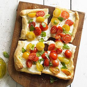 Mixed Tomato, Basil & Mozzarella Mini Pizzas From Better Homes and Gardens, ideas and improvement projects for your home and garden plus recipes and entertaining ideas.