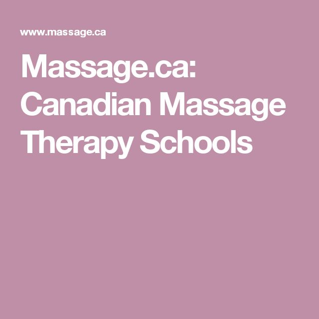 Massage.ca: Canadian Massage Therapy Schools