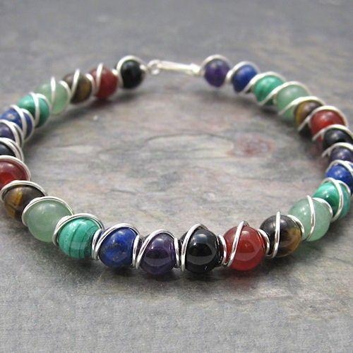 Chakra Beaded Sterling Silver Wire Wrapped Bracelet. $35.00, via Etsy.