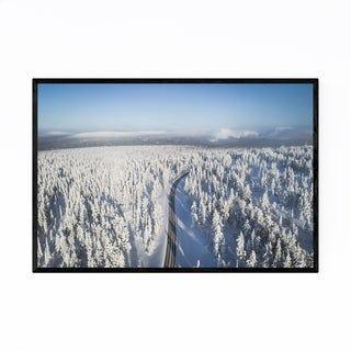 Noir Gallery Lapland Finland Winter Road Framed Art Print (White – 12 x 18)