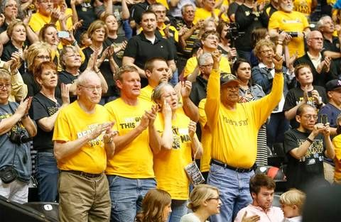 Wichita State fans applaud the Shockers at the WSU basketball awards celebration at Koch Arena Thursday. (April 16, 2015)