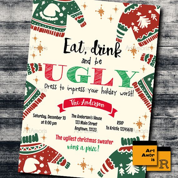 Ugly Sweater Invitation Ugly Sweater Christmas Party by ArtAmoris