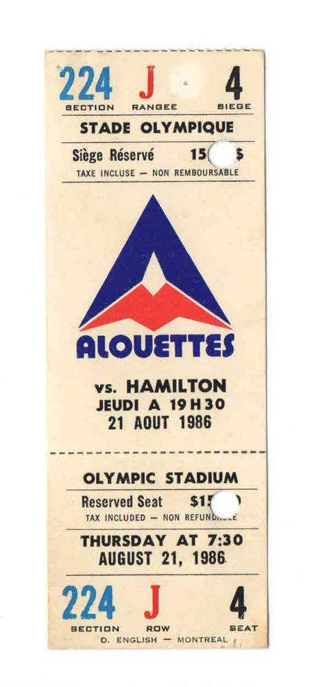 1986 montreal alouettes cfl #Football ticket vs hamilton tiger-cats from $3.81