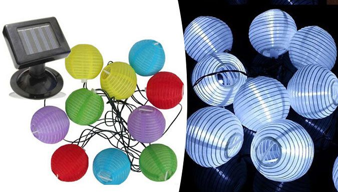 Buy 10 Solar Powered LED Chinese Lantern String Lights - 3 Colours UK deal for just: £9.99 Decorate your garden with the Chinese Lantern String Lights      Available in 3 colours: white, warm white and multi-coloured      Each string lights features 10 LED lanterns      Solar-powered lights charge during the day      No wiring or electricity required to install      Automatically switch on...