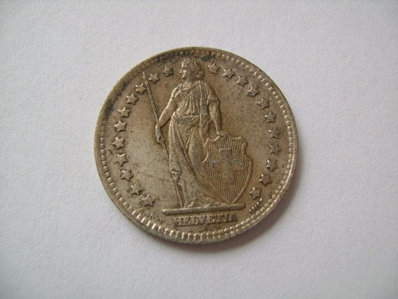 1947 Swiss Switzerland One 1 Franc Silver World Coin by lizystuff