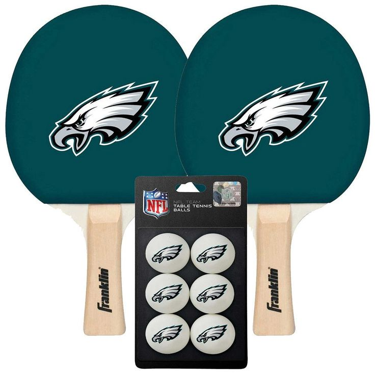 Philadelphia Eagles NFL Table Tennis Paddles and Balls Set (2 Paddles and 6 Balls )