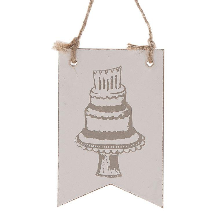Houten hanger met een jute touwtje. Op de hanger staat een verjaardagstaart afgebeeld. Afmeting: 8 x 12 cm - Houten Hanger Vlag 'Birthday Cake'