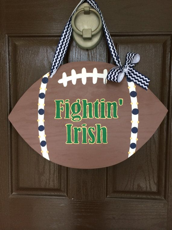 Wooden Notre Dame Football Door Hanger by HappyToz on Etsy