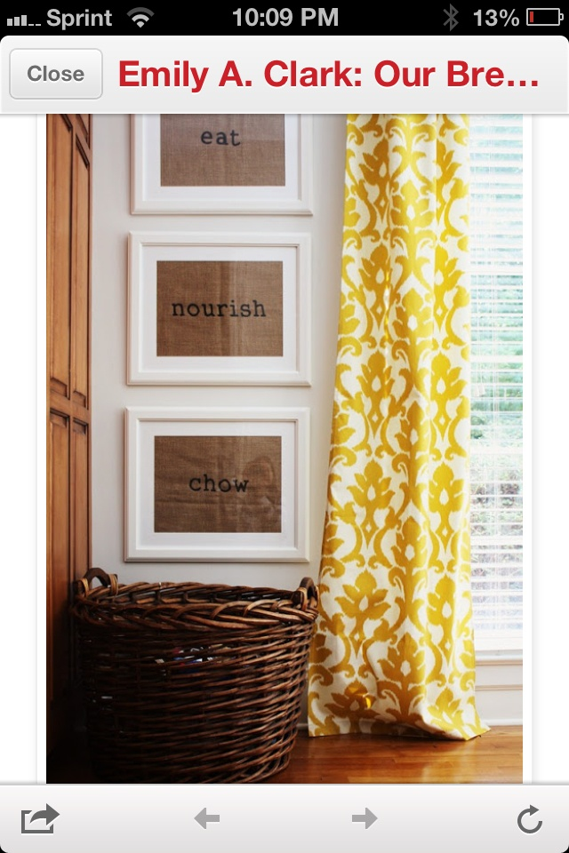 Burlap kitchen art as yellow curtains! Beauty