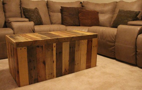 Hand-crafted storage chest made from shipping pallets. Weathered, stressed, rustic. From FasProjects on Etsy.