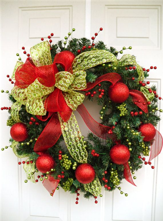 Christmas Wreath Holiday Wreath Large Wreath by SweetIvyWreaths