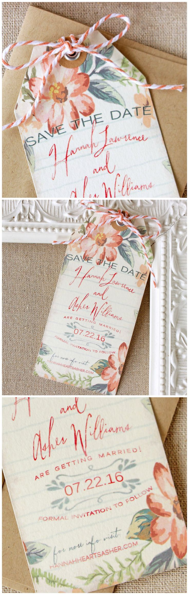 Peach Floral Save the Date Wedding