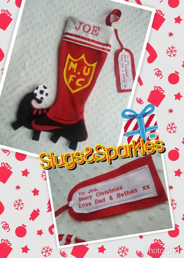 Handmade Football boot Christmas stocking with personalised embroidered tag