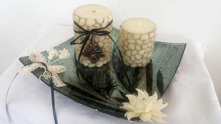 Κερινα πετραδακια στα κερια ερχονται να διακοσμησουν αυτη την ιδιαιτερη συνθεση που εμπνευστηκαμε για εσας!!