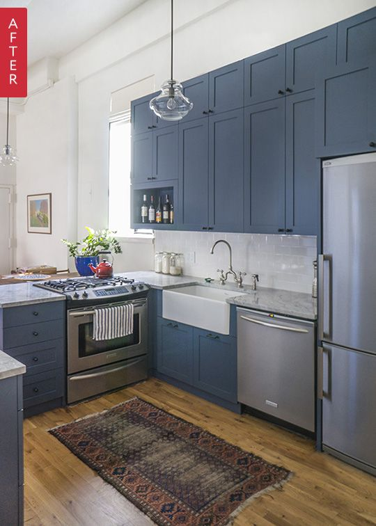 "Before & After: A Park Slope Kitchen Looks Up — Sweeten | Apartment Therapy. Blue cabinets.  For more of this trend, follow Jill Jordan's board ""Blue Cabinets"""