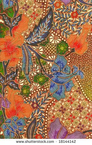 Orange and blue floral traditional Batik sarong design