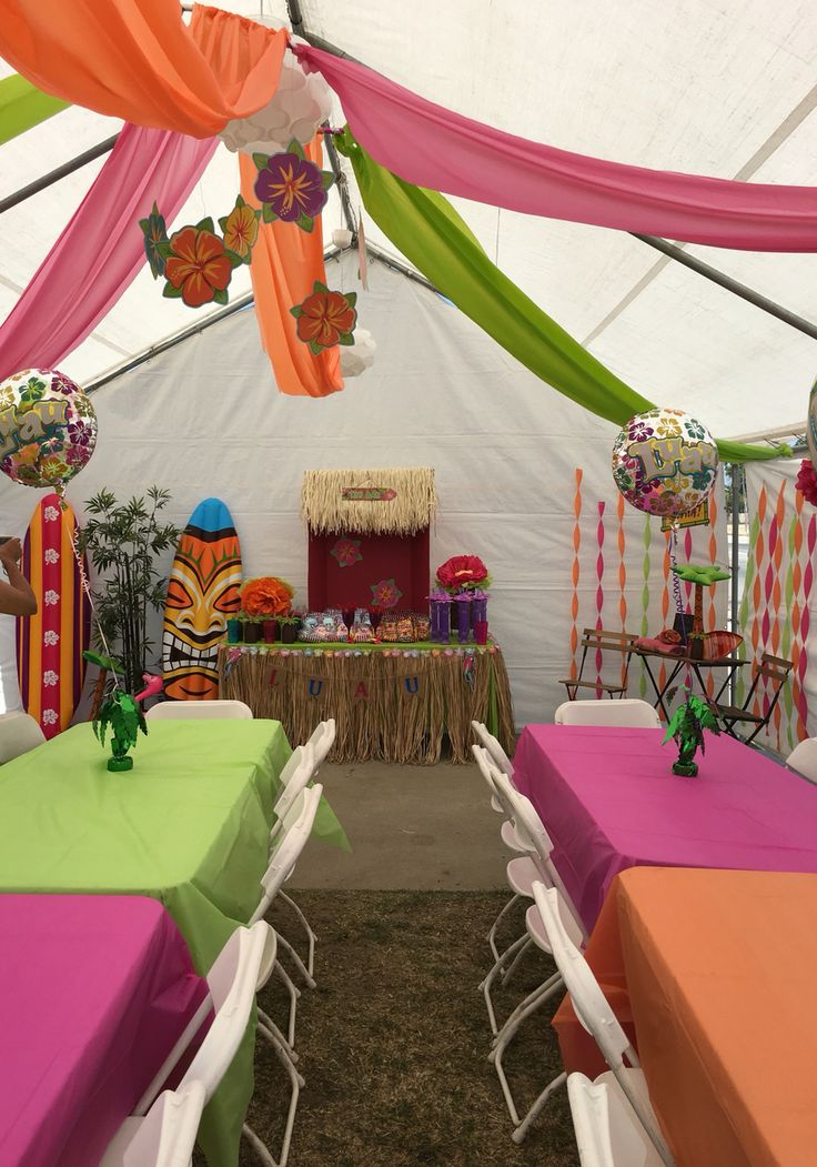 DIY decorations for a Luau theme party. Great way to decorate your outdoor canopy. Decorations can be found at your local party supply store or you can always check dollar tree. Inflatables surfboards are from Walmart. Enjoy! =] #partyideas #colorful #fun