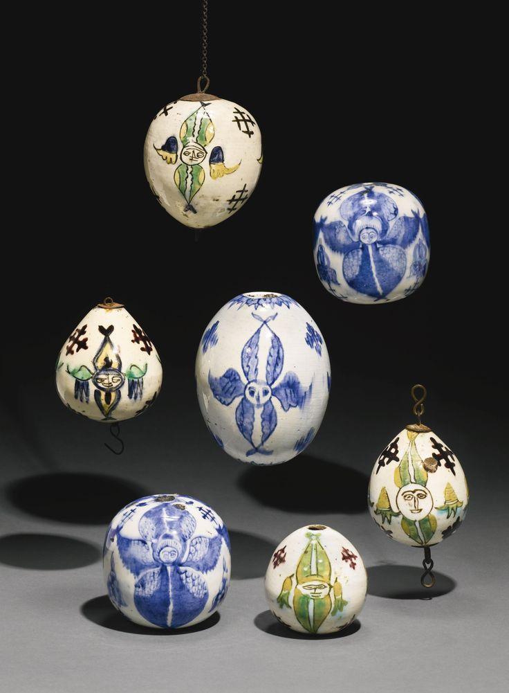 Seven Kütahya pottery hanging ornaments, Turkey, 18th century | Lot | Sotheby's