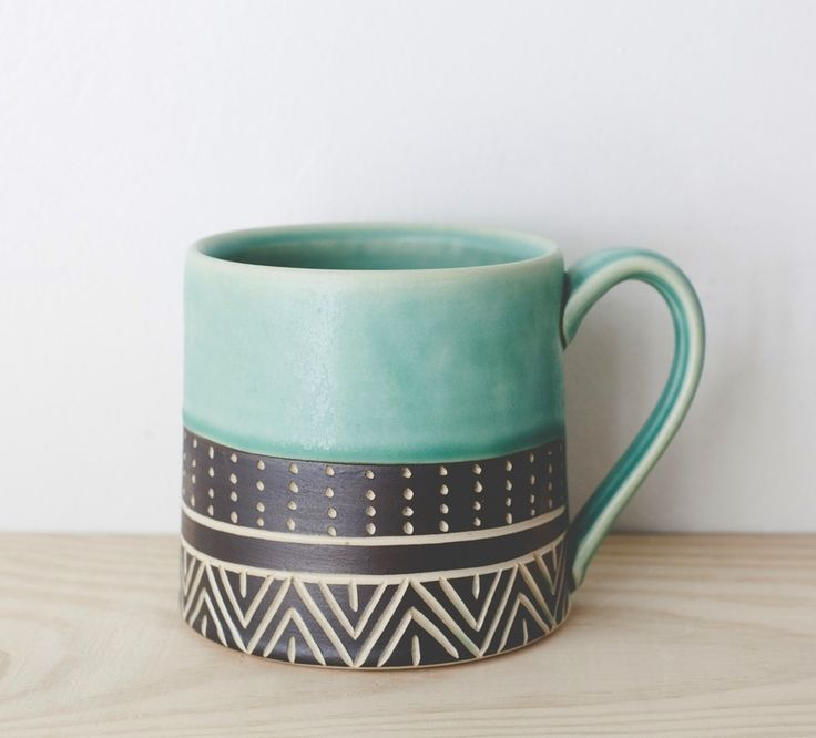 Eternity Turquoise Mug Teal Mutery Paintingceramic Paintingpainted
