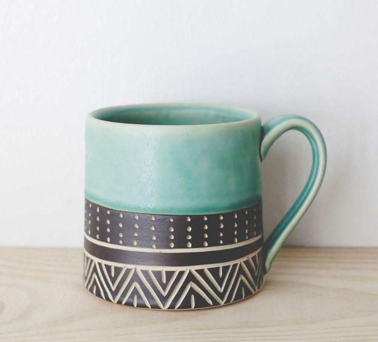 Eternity Turquoise Mug Teal Mutery Paintingceramic Paintingpainted